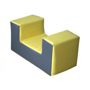 Figura Mini Asiento  RECTO 30X60X30 cm - Amarillo/Gris 30X60X30 cm