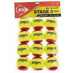 Pelotas Mini Tenis Dunlop STAGE 3 RED x12