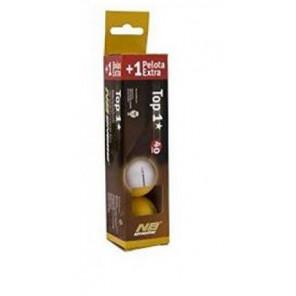 Pelotas Tenis Mesa Enebe TOP 1* 40 mm Caja 3+1 Naranja