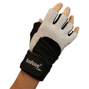 PAR DE GUANTES FITNESS SOFTEE CX3 - XL, BLANCO/NEGRO
