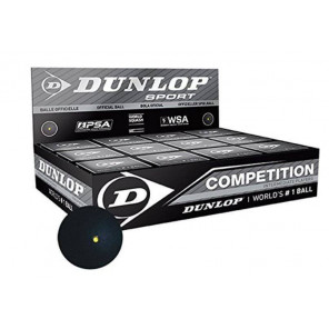 Bolas Squash Dunlop COMPETITION (Punto Amarillo) x12