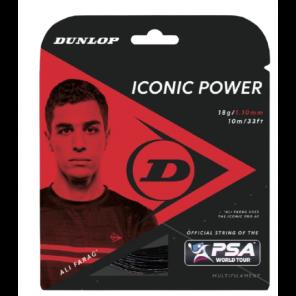Cordaje Squash Dunlop Iconic Power Set 10 m 1.10 mm Negro